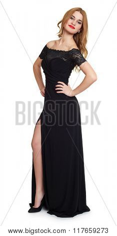 girl in black  gown on white