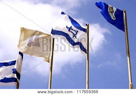 Israeli Flags Against The Sky