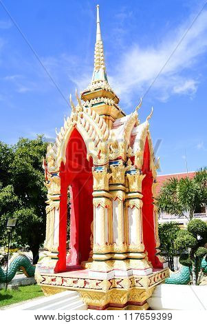 Buddhist Monument In Front Of The Blue Sky