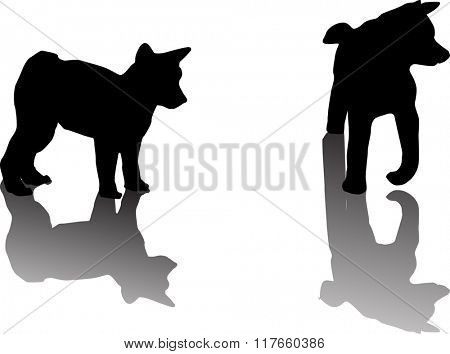 illustration with two puppy silhouettes isolated on white background