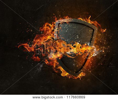 Shield burning in fire