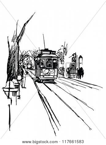 Tramway in lisbon - vector illustration