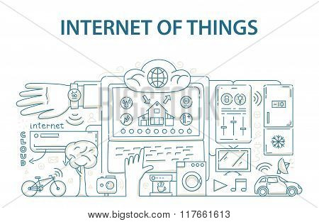 Doodle style design concept of internet of things data technology, network infrastructure of connect