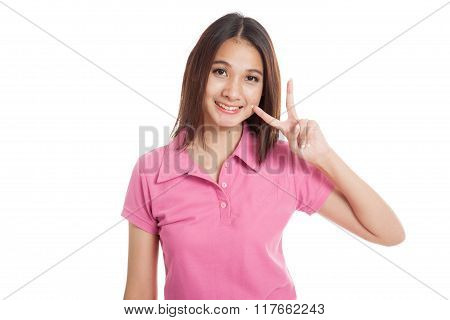 Beautiful Asian Girl Show V Sign