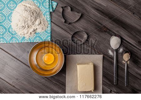 Ingredients for the dough and baking. Easter