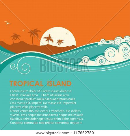 Tropical Island  And Seascape.vector Illustration