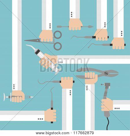Flat dental instruments set design concept with hands