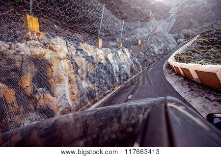 Dangerous road with landslide