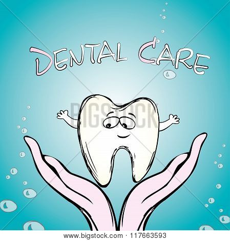 Dental care, tooth on hand,