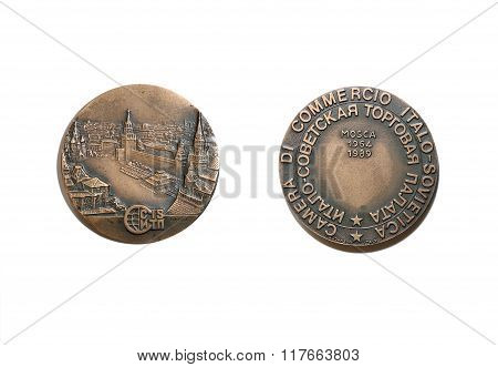 Commemorative Copper Medal In Honor Of The Soviet-italian Chamber Of Commerce
