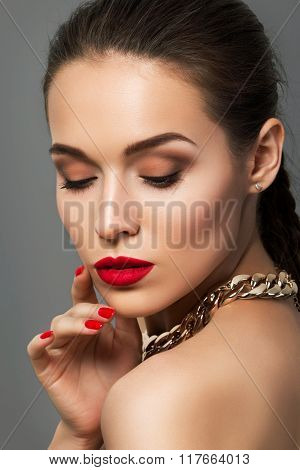 Beauty Portrait Of Young Aristocratic Woman With Red Lips