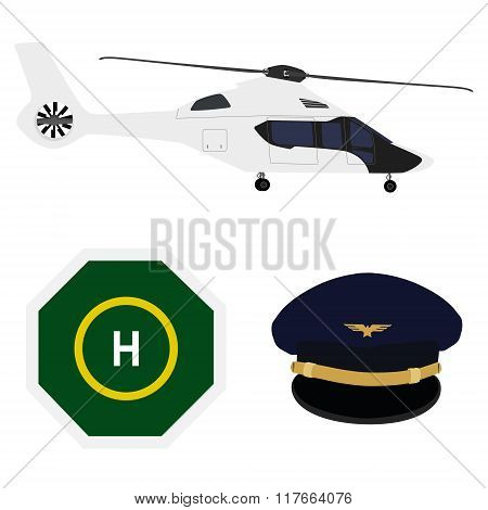 Helicopter, Landing Place, Cap
