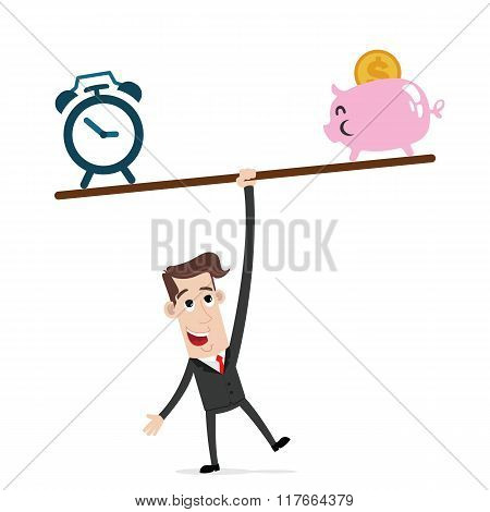 Businessman balance a seesaw with clock and piggy bank