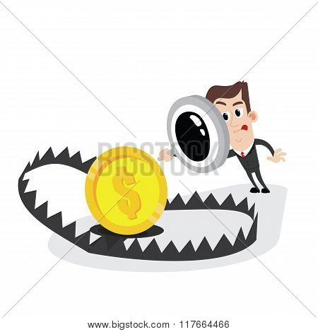 Businessman holding magnifier and looking at bear trap with money