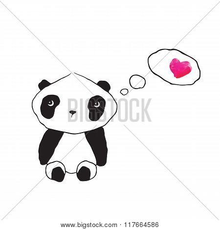 Little cute panda with pink watercolor heart.