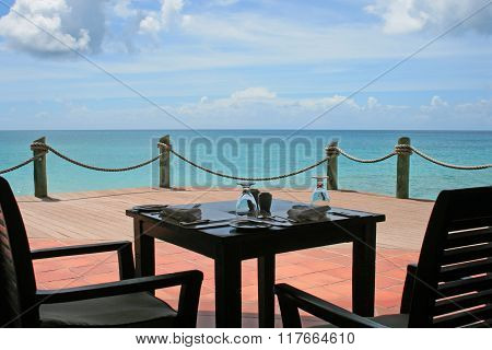 Table Set With Ocean Views