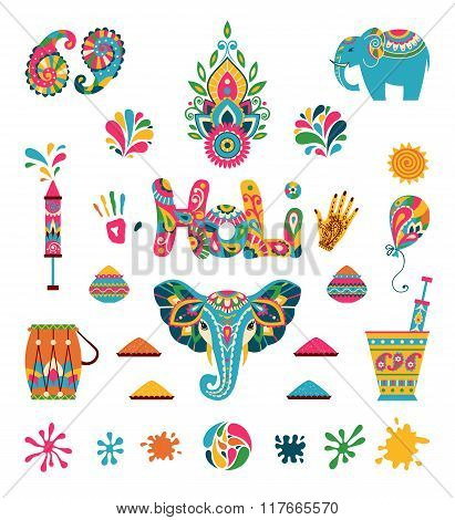 Set Of Holi Flat Elements In Indian Style