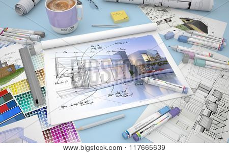 3D rendering of an architects desktop with a house render, markers and  color swatches