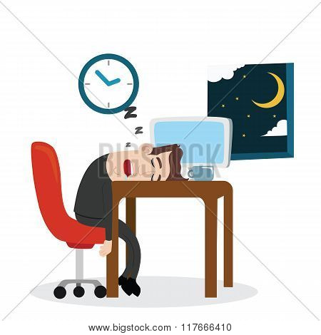Tired businessman sleeping at work