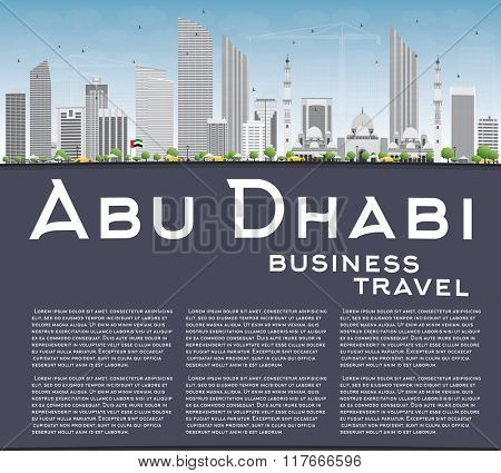 Abu Dhabi City Skyline with Gray Buildings and Copy Space. Vector Illustration. Business Travel and Tourism Concept with Modern Buildings. Image for Presentation Banner Placard and Web Site.