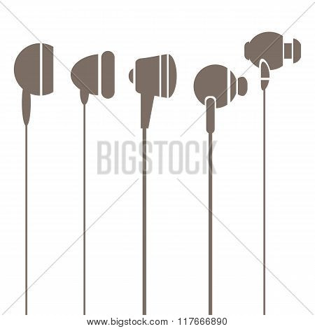 Earphones Silhouettes Icons