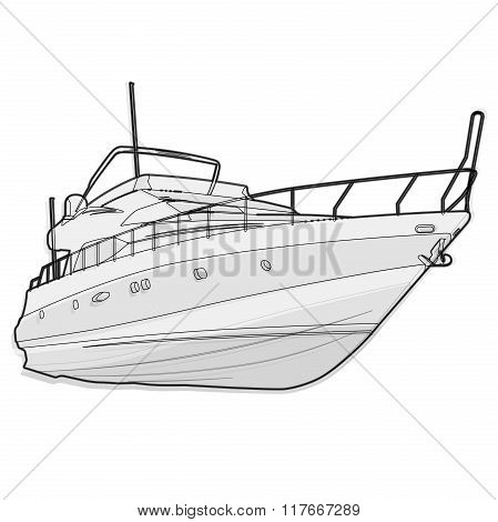 Nice wire black and white boat on white, fishing on ship