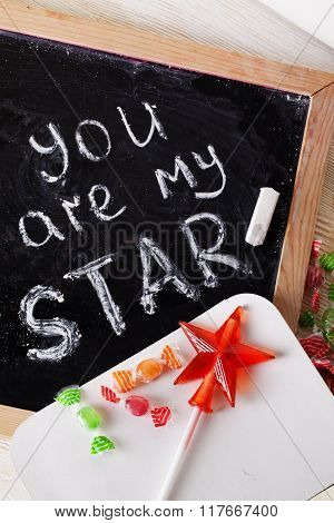 You are my star, I love, written blackboard with chalk, caramel, candy, wand, valentines day, valent