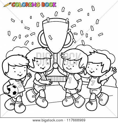 Coloring book soccer kids winners