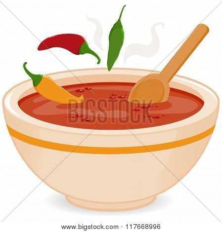 Bowl of hot chili soup