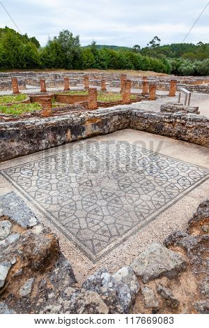 Room on the Domus of the Swastika, decorated with mosaics with a view on the peristyle, garden and pond. Conimbriga in Portugal, is one of the best preserved Roman cities on the west of the empire.