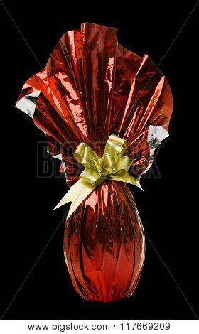 Brazilian Easters Egg in red isolated on a black background