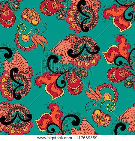 Seamless Vector Pattern In Indian Style. Hand Drawn Background