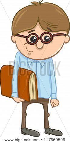 School Boy Cartoon Illustration