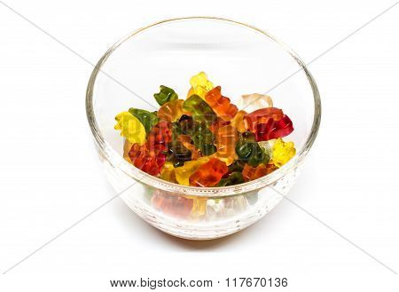 gummy bear candies in a glass bowl