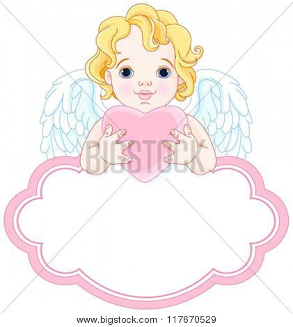 Illustration of cute angel holds heart