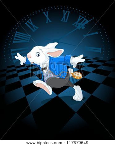 Running White Rabbit with pocket watch