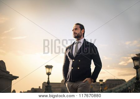 Elegant businessman walking
