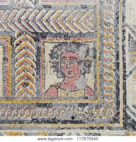 Roman mosaic portraying the Autumn Season or Fall character, in the House of the Fountains. Conimbriga in Portugal, is one of the best preserved Roman cities on the west of the empire.