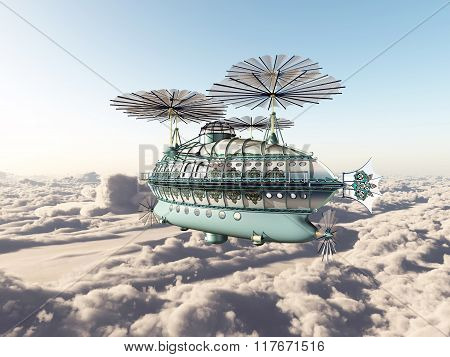 Fantasy airship above the clouds