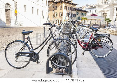 Bicycle Parked On A Rack