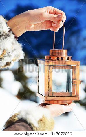 Lantern in the hand. Murren, Switzerland