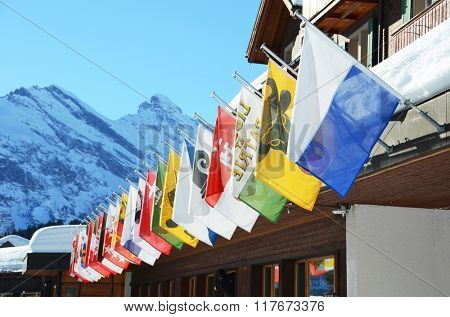 Flags of all Swss cantons against snowy Alps