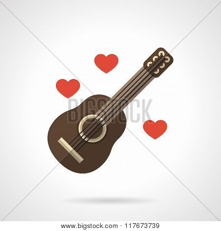 Loving music flat color vector icon