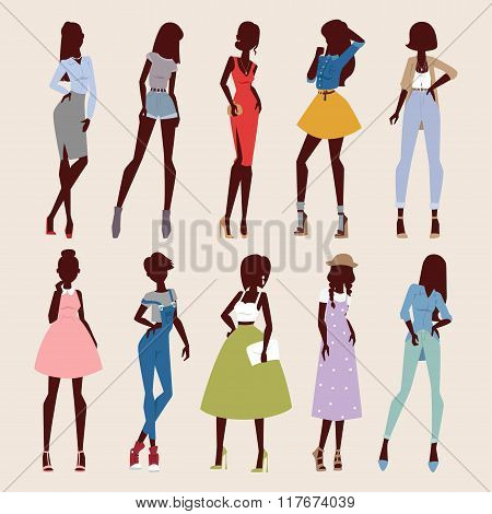 Fashion abstract vector girls looks