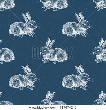 white hare silhouette seamless pattern