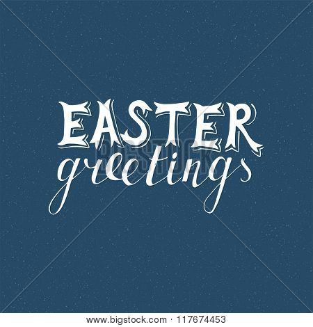 Easter hand drawn lettering on blue background