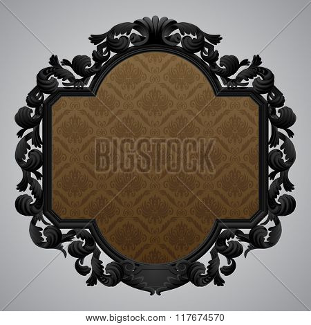 Black baroque carved beige frame with a brown ornamental background. Vector illustration