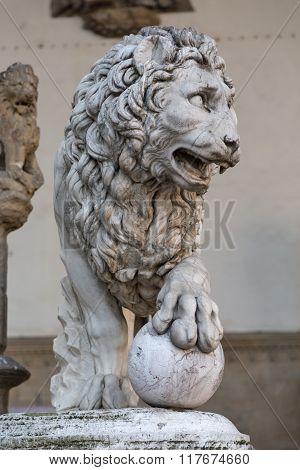 Florence. Piazza Della Signoria. Lion Sculpture