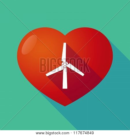 Long Shadow Red Heart With  A Wind Generator
