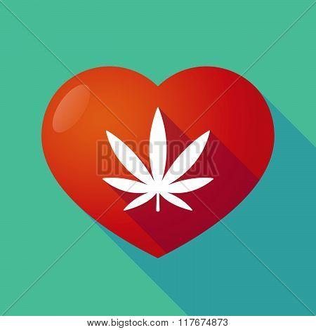 Long Shadow Red Heart With A Marijuana Leaf